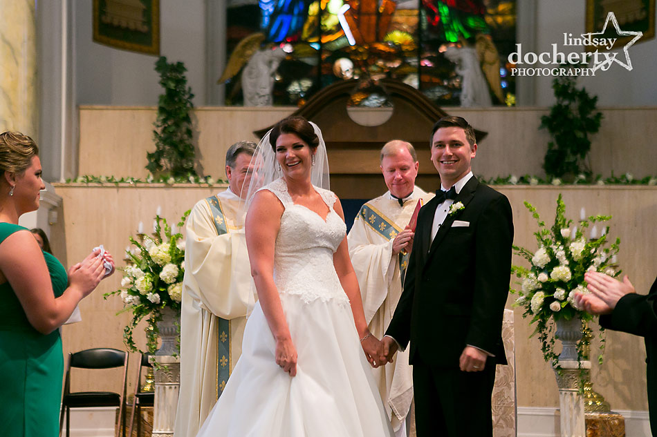Catholic wedding ceremony at Old St. Mary's church in Philadelphia