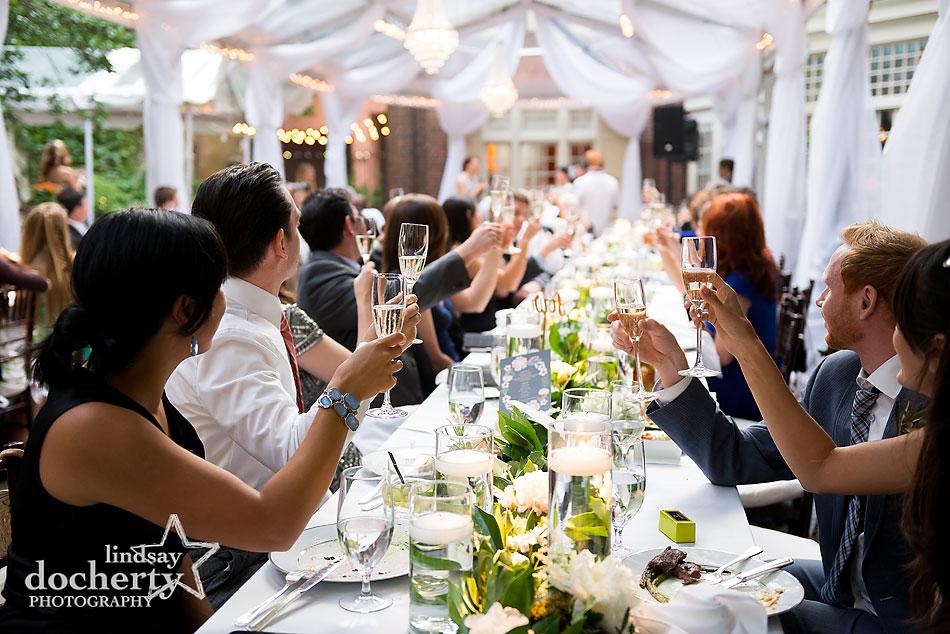 wedding reception toast at Morris House Hotel in Philadelphia