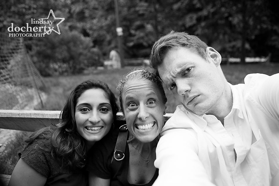 selfie with photographer at engagement session in Philadelphia's Wissahickon Park