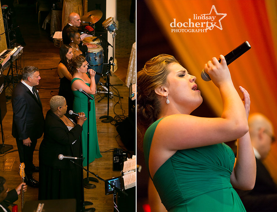 sister sings to bride and groom at Bellevue wedding reception