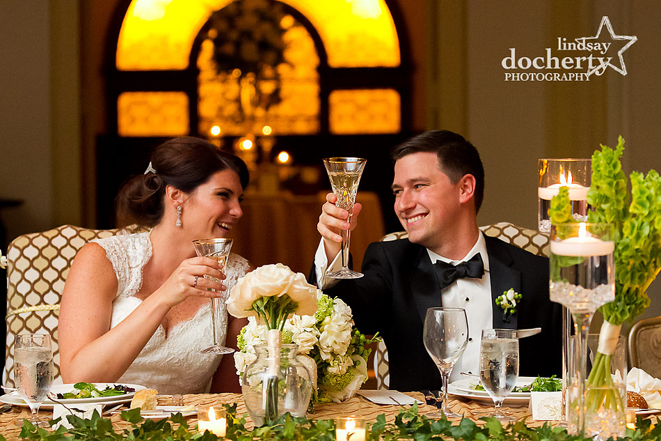 bride and groom during toasts at Philadelphia wedding reception at the Hyatt at the Bellevue grand ballroom