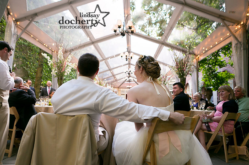 toasts at Philadelphia wedding reception at Morris House Hotel