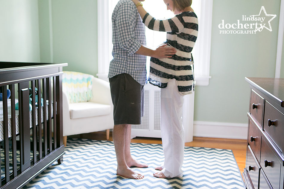 Chestnut Hill Maternity session with mom and dad in nursery