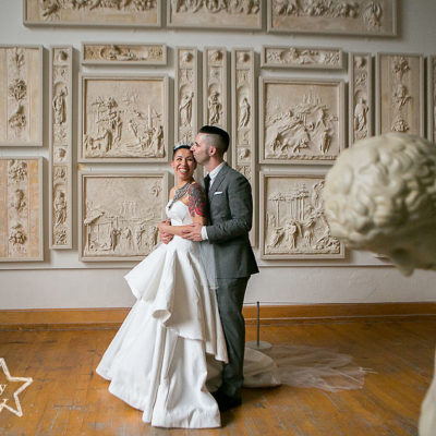 ALternative bride and groom wedding at PAFA in Philadelphia