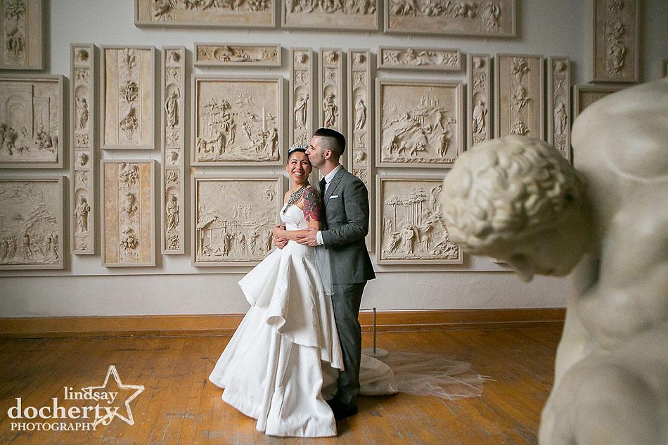 ALternative bride and groom wedding at PAFA in Philadelphia