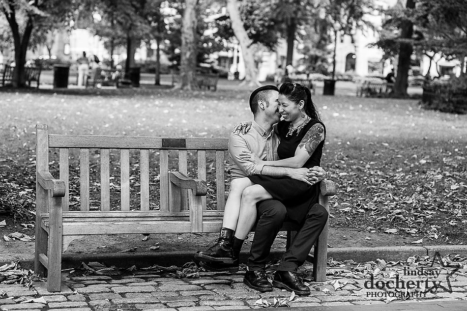 alternative-couple-engagement-session-in-Philadelphia-Rittenhouse-Square-bench