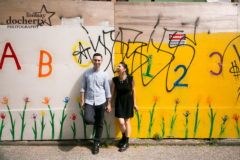 alternative-couple-engagement-session-in-Philadelphia-against-nursery