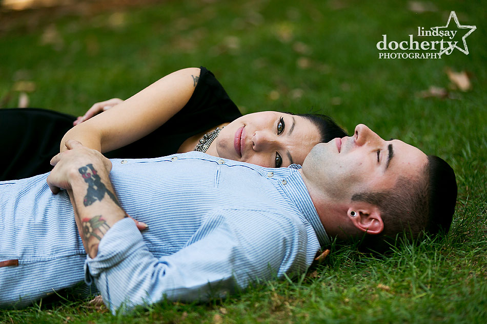 alternative-couple-engagement-session-in-Philadelphia-in-grass
