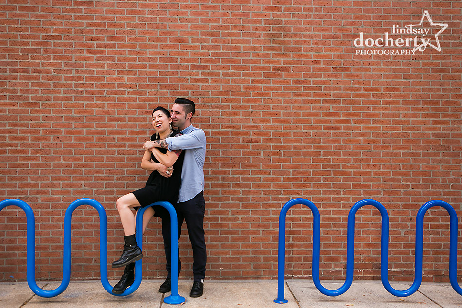 alternative-couple-engagement-session-in-Philadelphia-on-bike-rack
