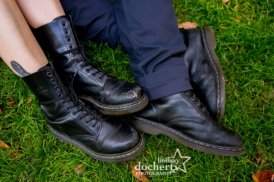 alternative-couple-engagement-session-in-Philadelphia-ring-shot-on-doc-martens