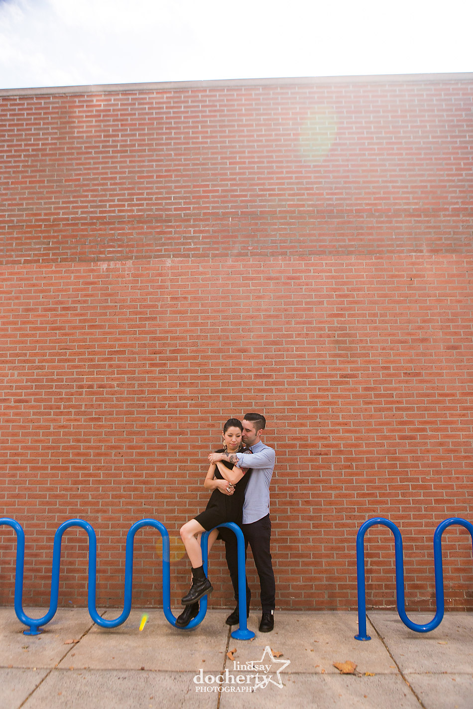 alternative-couple-engagement-session-in-Philadelphia-with-sun-flare
