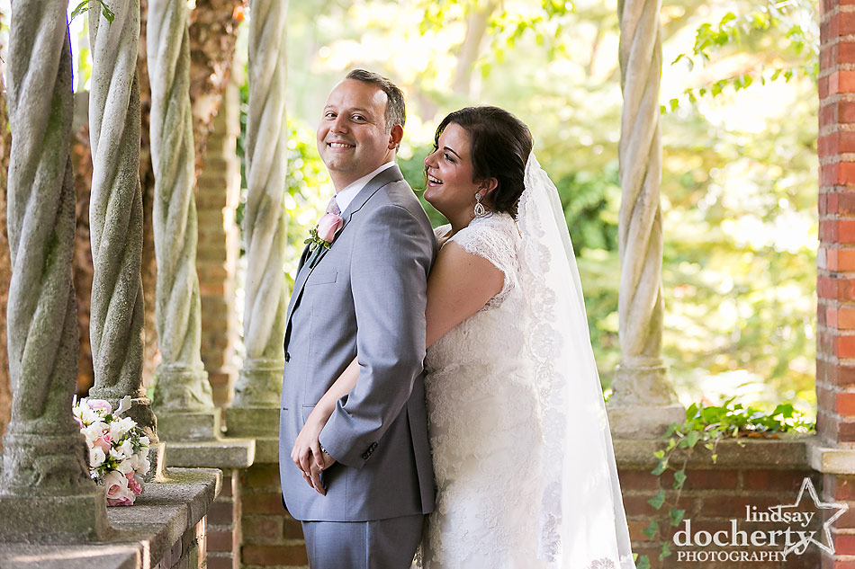 outside bride and groom picture at Aldie Mansion wedding in Doylestown