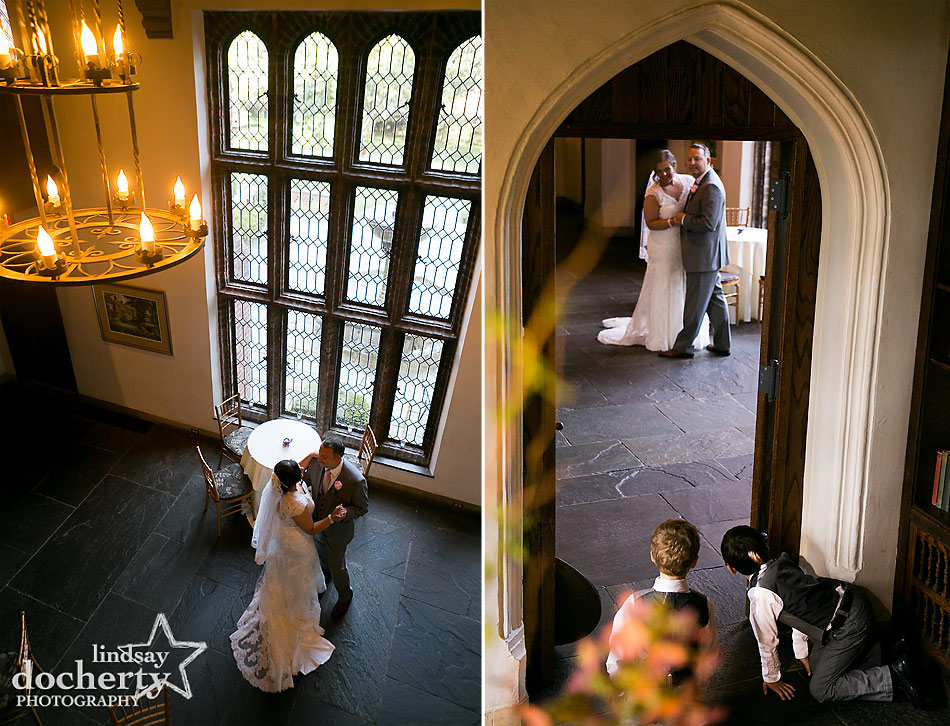 bride and groom dancing while ring bearers watch at Aldie Mansion wedding in Doylestown