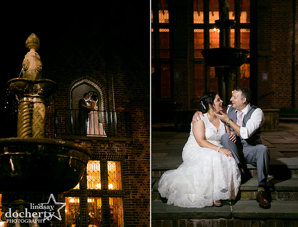 nighttime bride and groom picture by fountain at Aldie Mansion wedding in Doylestown