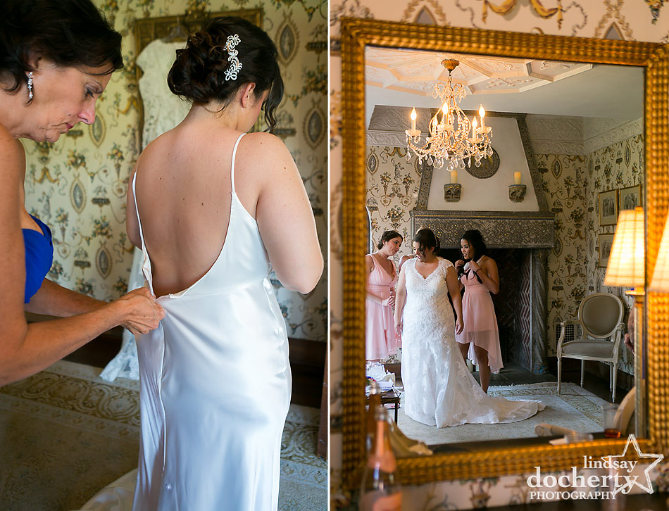 bride and bridesmaids getting ready at Aldie Mansion wedding in Doylestown