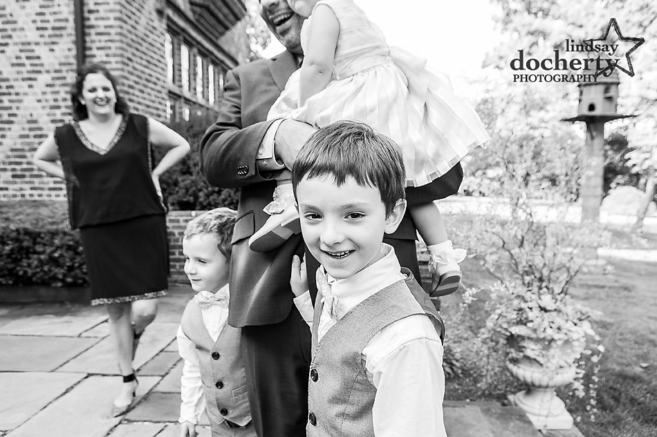 ring bearers and family at Aldie Mansion wedding in Doylestown