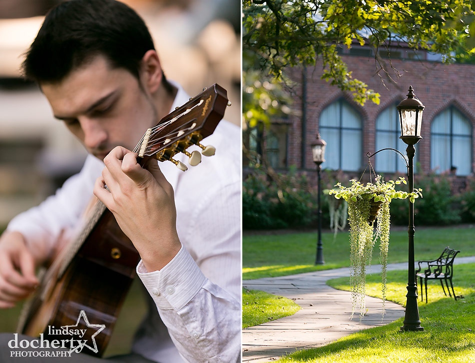 live musician for outside ceremony at Aldie Mansion wedding in Doylestown