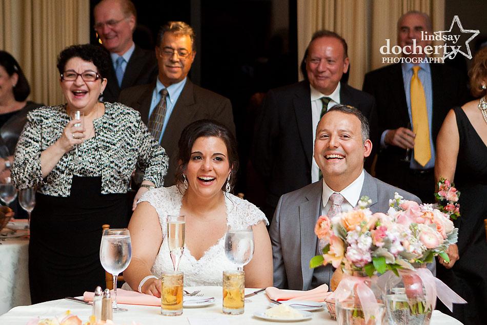 Maid of honor speech at Aldie Mansion wedding in Doylestown