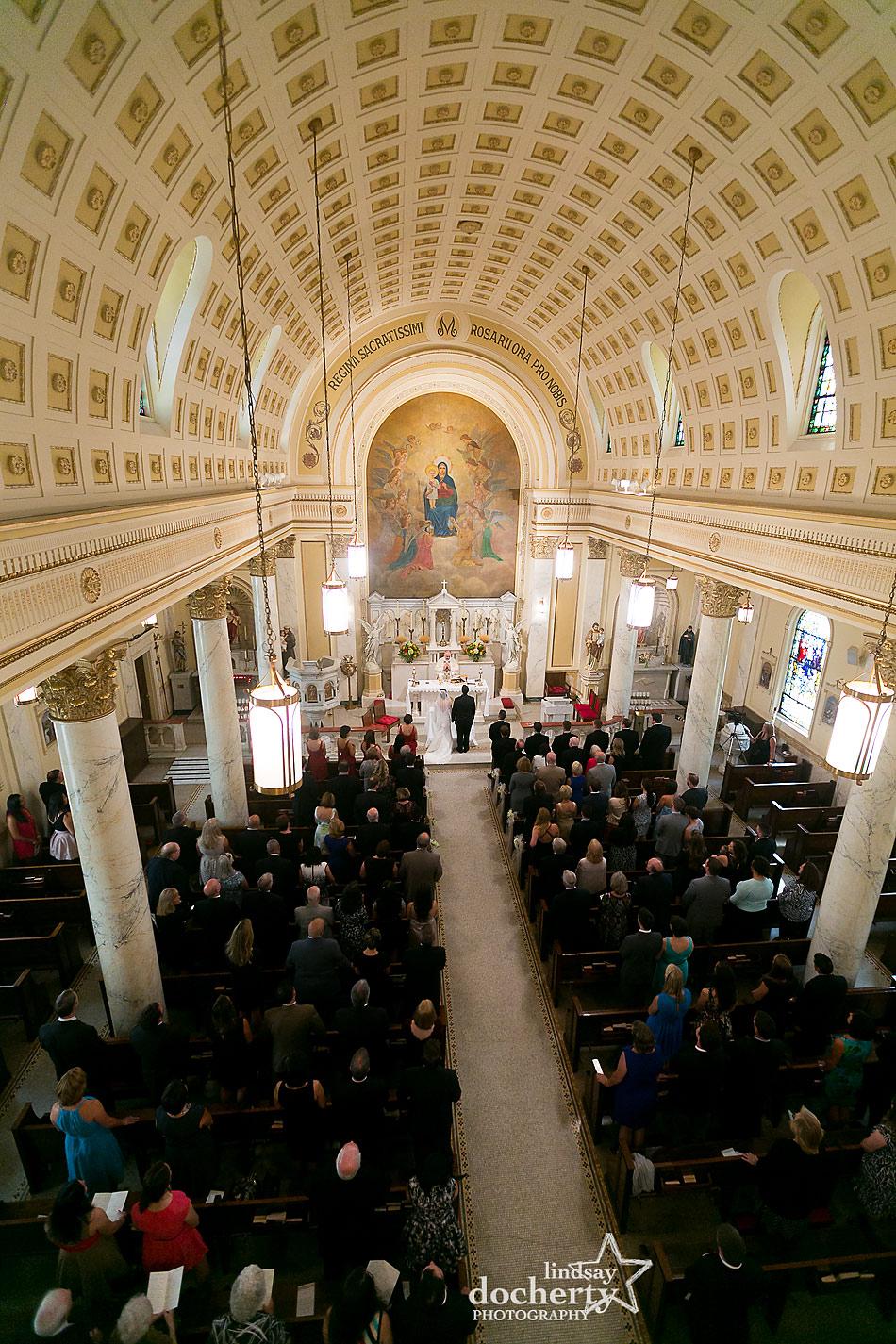 wedding ceremony in Holy Rosary Catholic Church