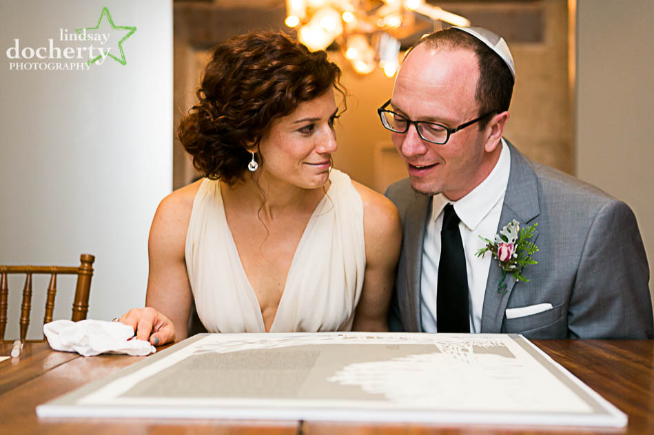 Jewish wedding ketubah signing at Front and Palmer in Philadelphia