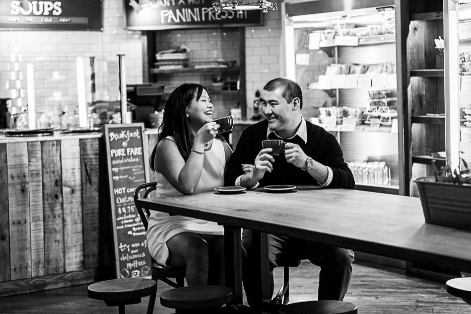 Philadelphia cafe engagement session with coffee