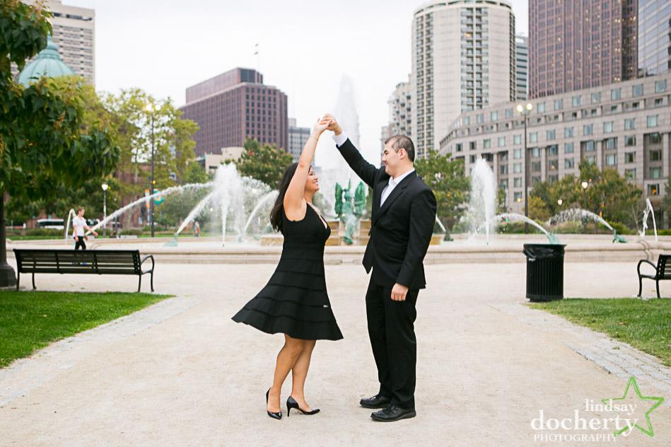 Philadelphia engagement session in Logan Square