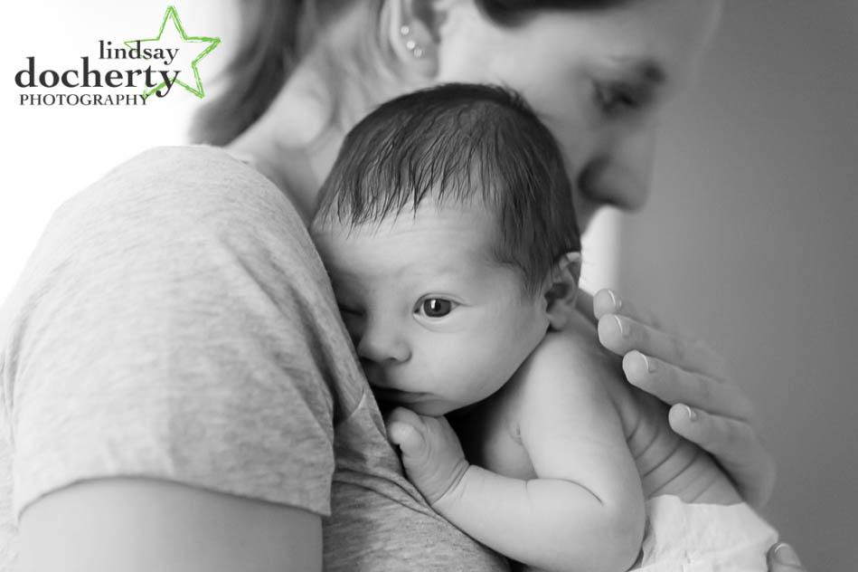 Philadelphia awake newborn baby with mother