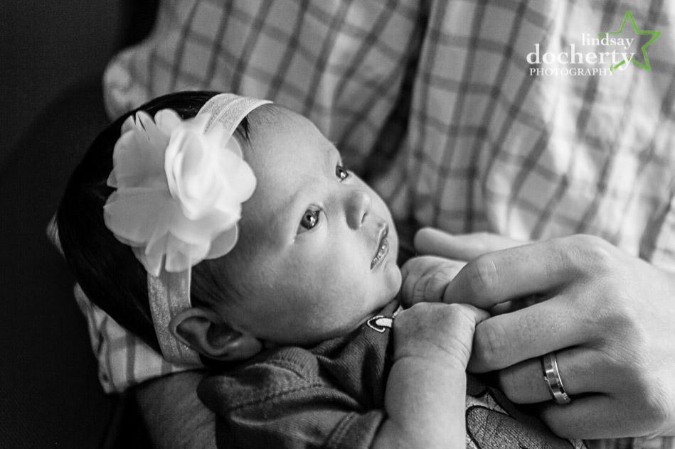 beautiful newborn baby girl with big eyes