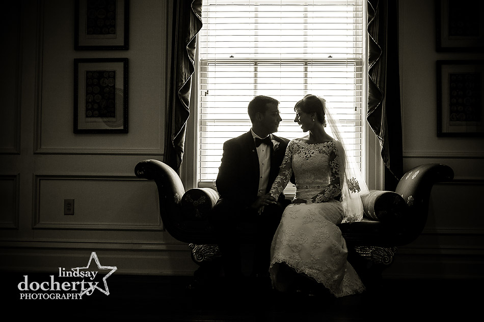 bride and groom at DC Army Navy Country Club wedding reception