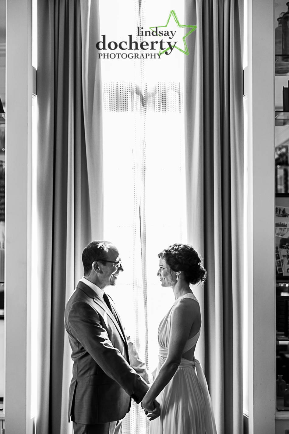 bride and groom at hotel Palomar in Philadelphia