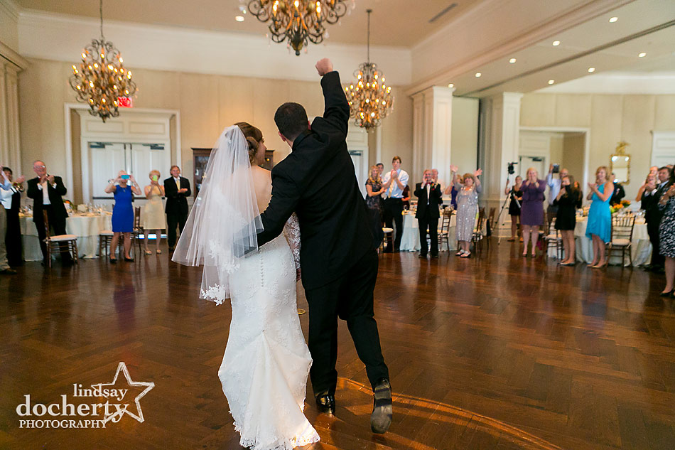 bride and groom enter reception at DC Army Navy Country Club wedding