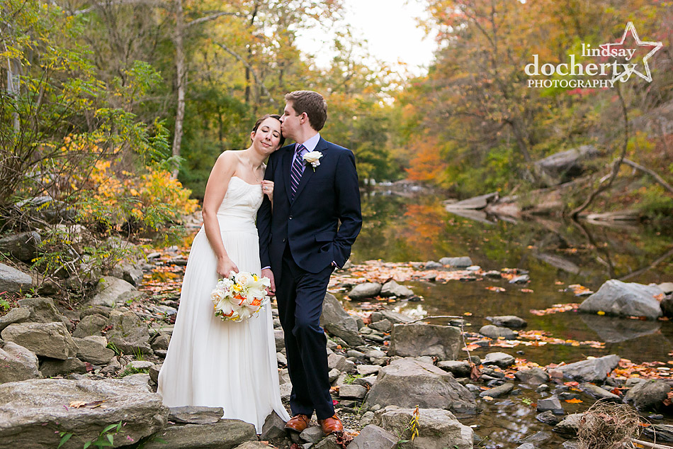 bride and groom on fall wedding day in Philadelphia at Valley Green Inn