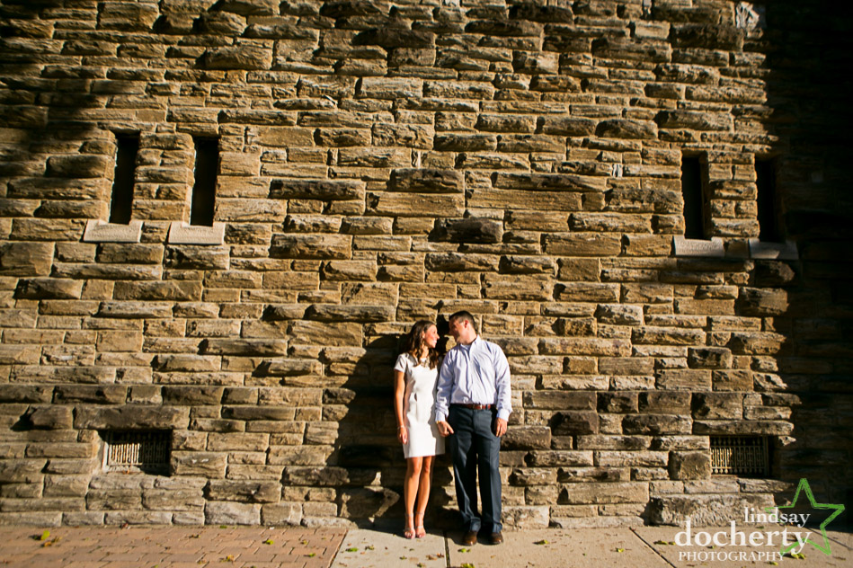 engagement pictures at big stone wall in Conshohocken