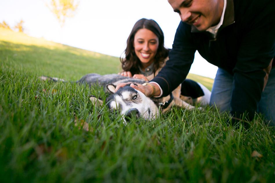 happy dog in engagement session outside of Philadelphia