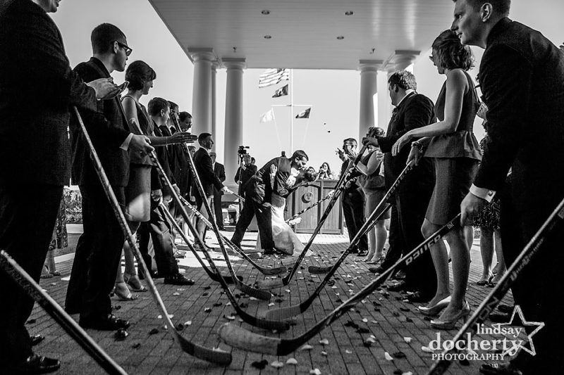 Hockey stick wedding exit at Washington DC wedding reception