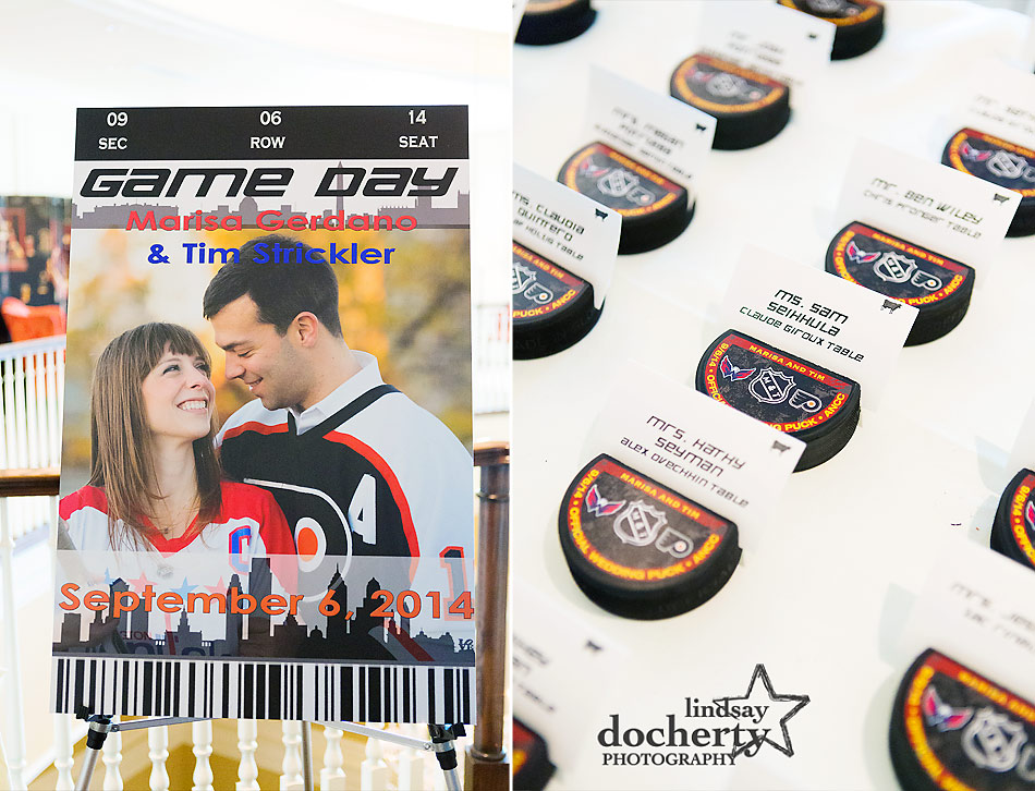 hockey themed wedding reception for Flyers and Capitals fans