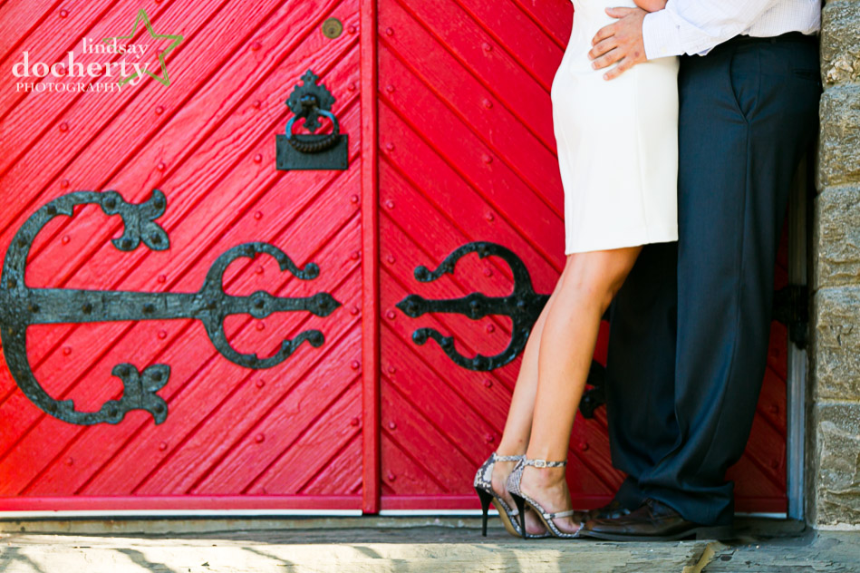 red door great heels at engagement session outside of Philadelphia