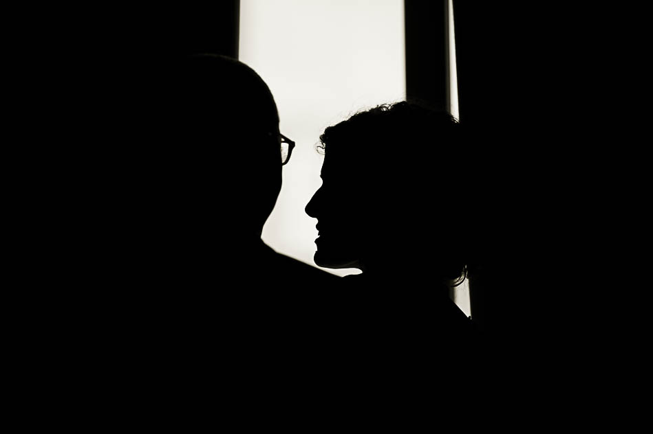 silhouette bride and groom at hotel Palomar in Philadelphia
