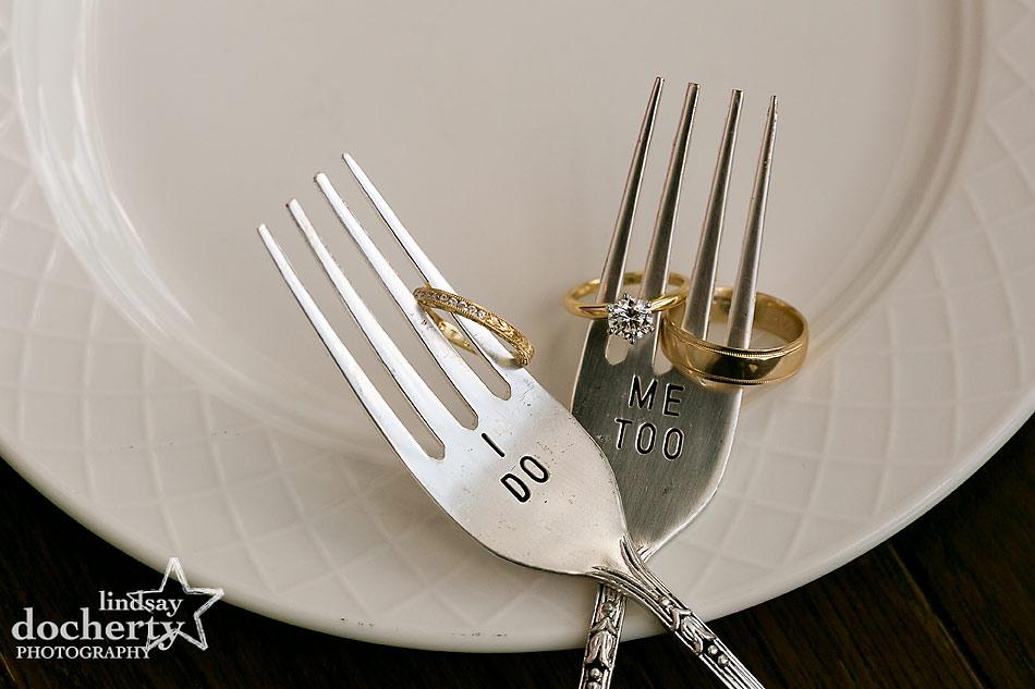 wedding rings on custom cake forks