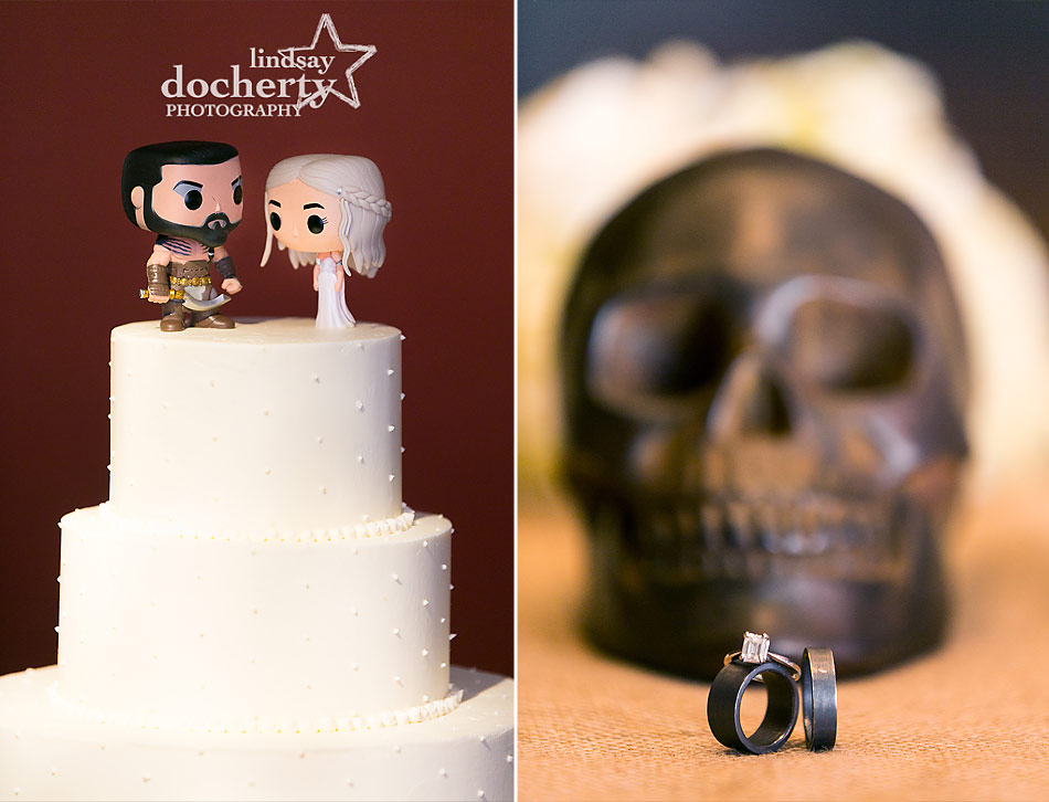 Game of Thrones cake toppers and tarnished silver wedding rings with skull and diamond engagement ring