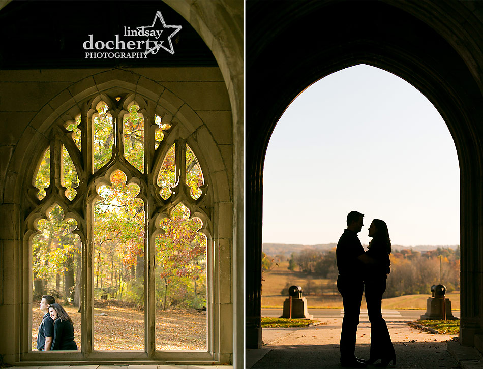 fall engagement session pictures at Washington Chapel Valley Forge Park outside of Philadelphia