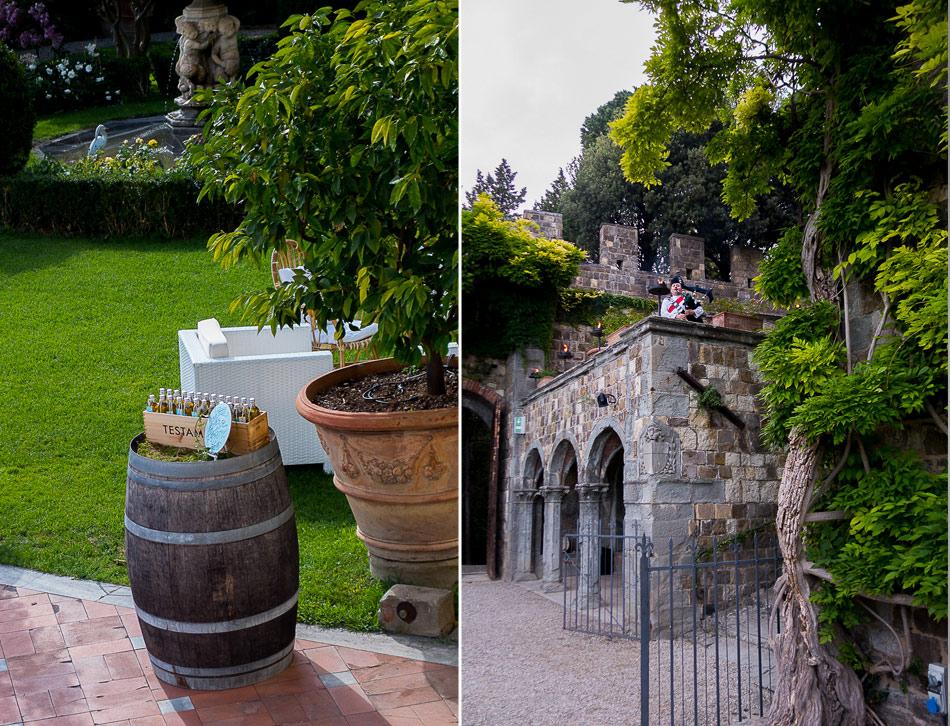 bagpiper-and-olive-oil-wedding-favors-at-Castello-di-Vincigliata