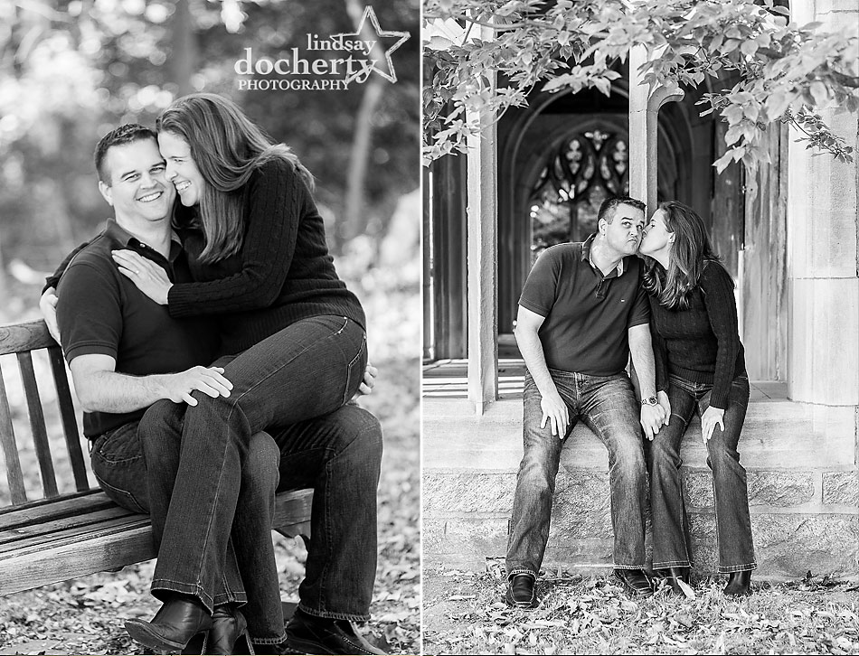 black and white pictures of engagement session at Valley Forge National Park engagement session