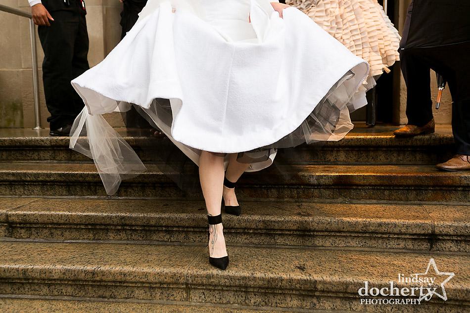 black wedding shoes and black tulle underskirt for bride's handmade wedding dress