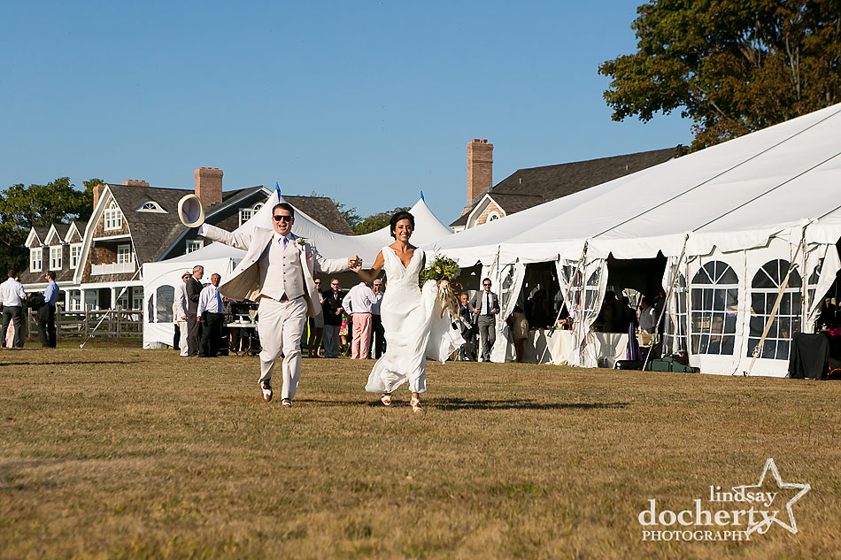 bride and groom at backyard wedding on Shelter Island in New York