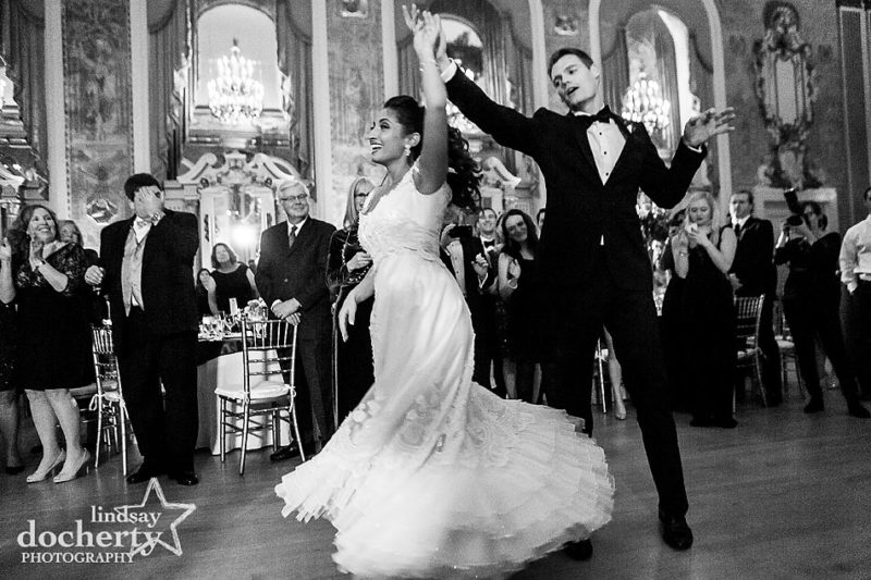 bride and groom choreographed first wedding dance at Hotel DuPont in Wilmington Delaware