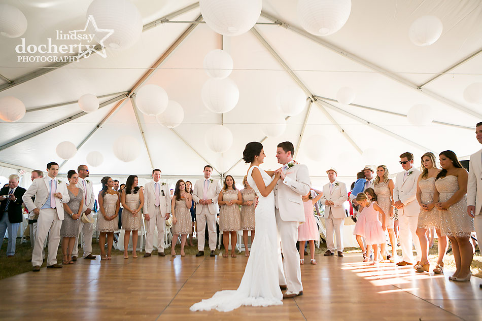 first dance with bride and groom at tent wedding on Shelter Island in New York