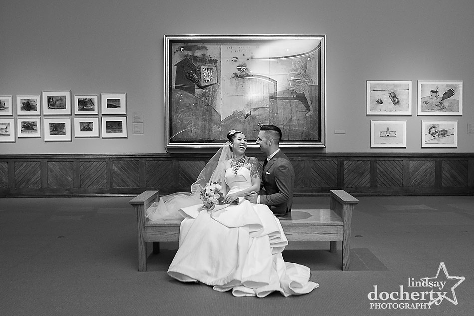 Alternative bride and groom wedding at PAFA in Philadelphia in David Lynch exhibit