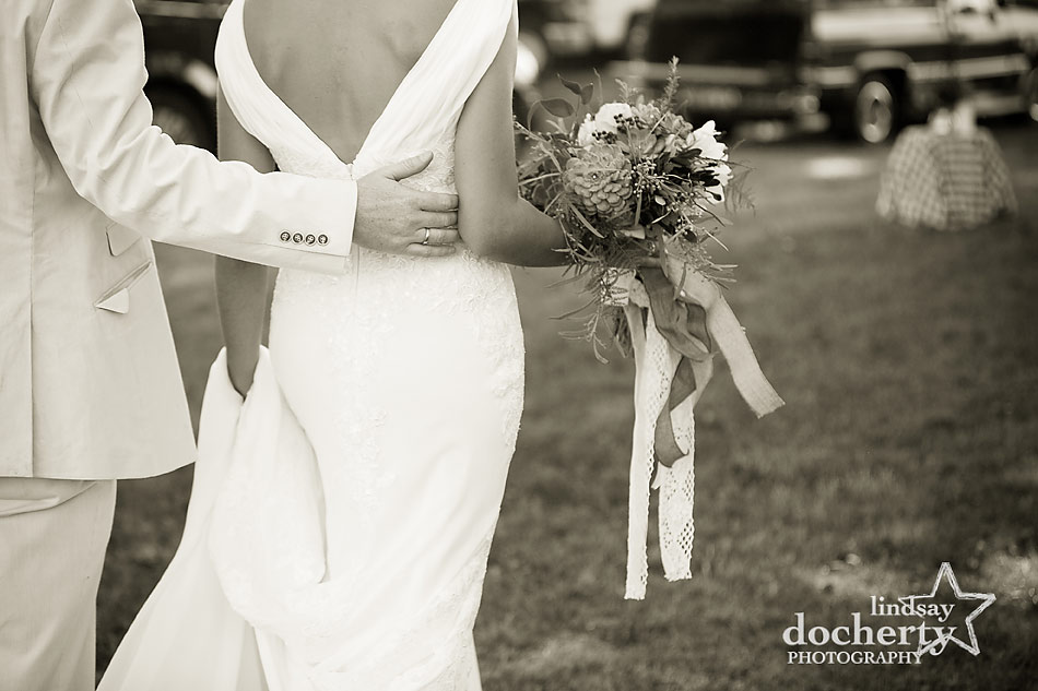 bride and groom in sepia at backyard wedding on Shelter Island in New York