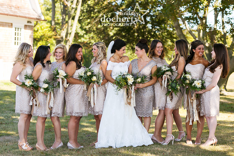 short bridesmaids dresses in champagne for backyard wedding on Shelter Island, New York